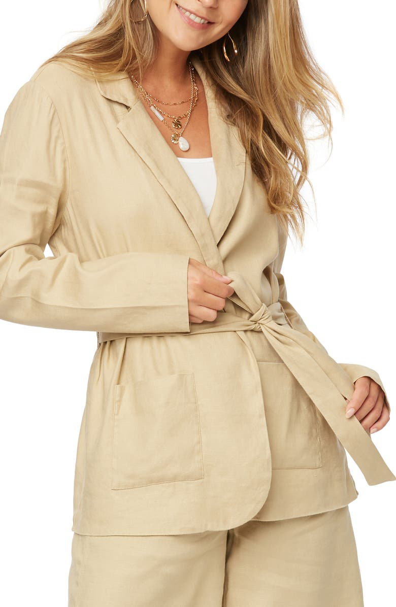 NYDJ Belted Linen Blend Blazer, Main, color, WARM SAND