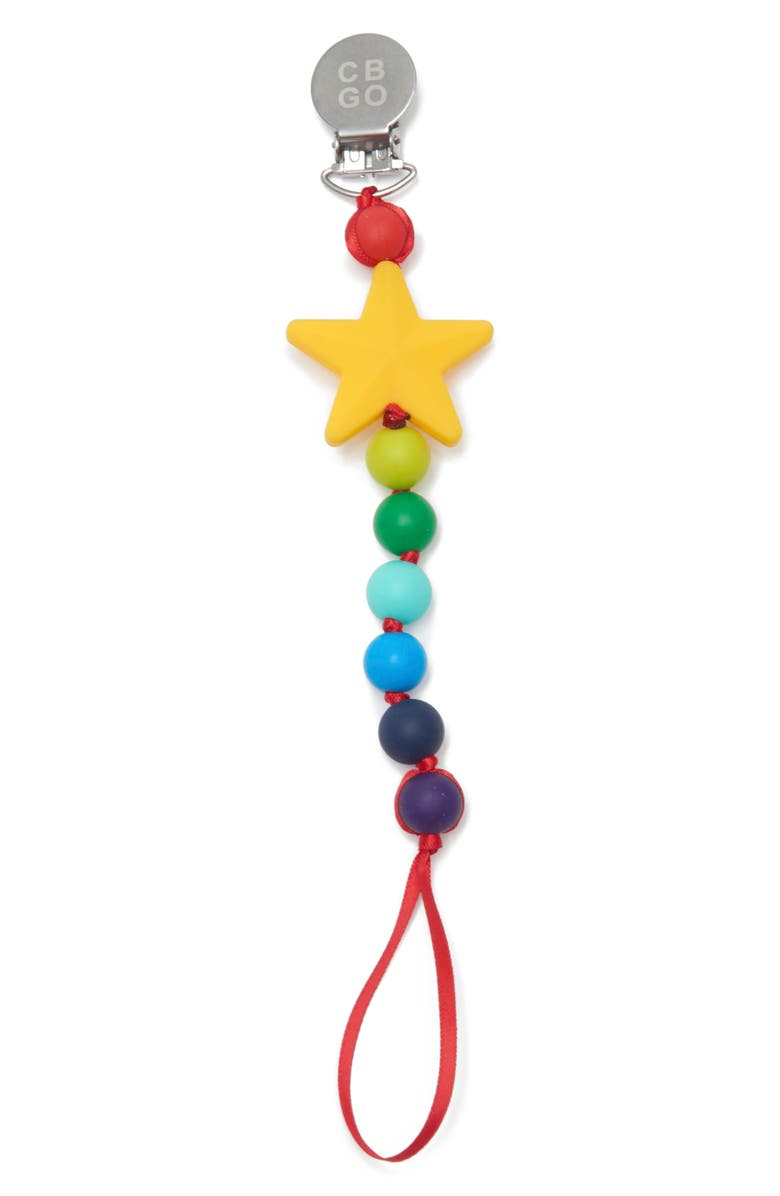 CHEWBEADS Star Pacifier Clip, Main, color, 700