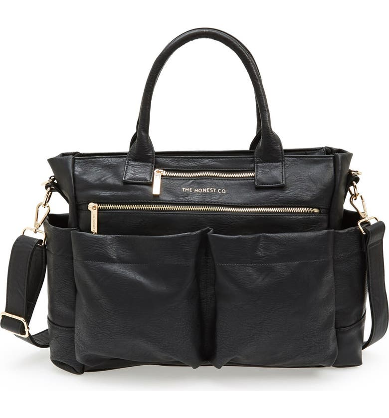 THE HONEST COMPANY 'Everything' Faux Leather Diaper Bag, Main, color, Black