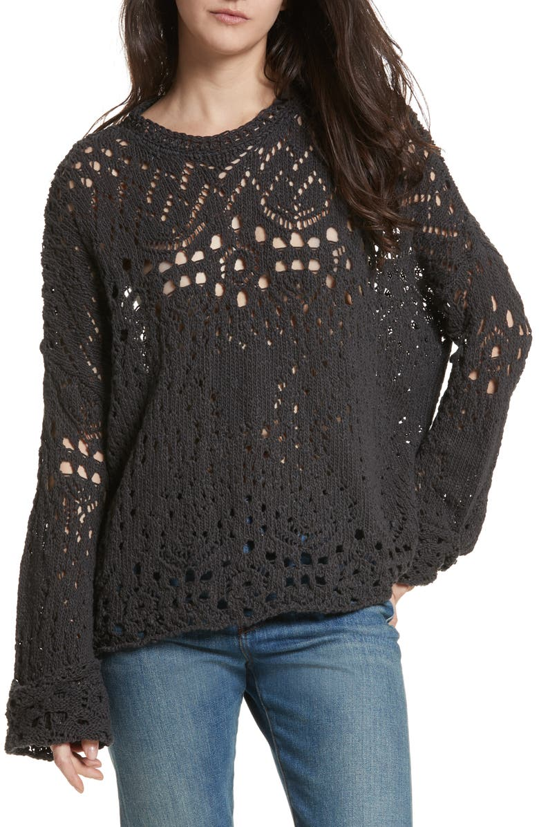 FREE PEOPLE Traveling Lace Sweater, Main, color, CARBON