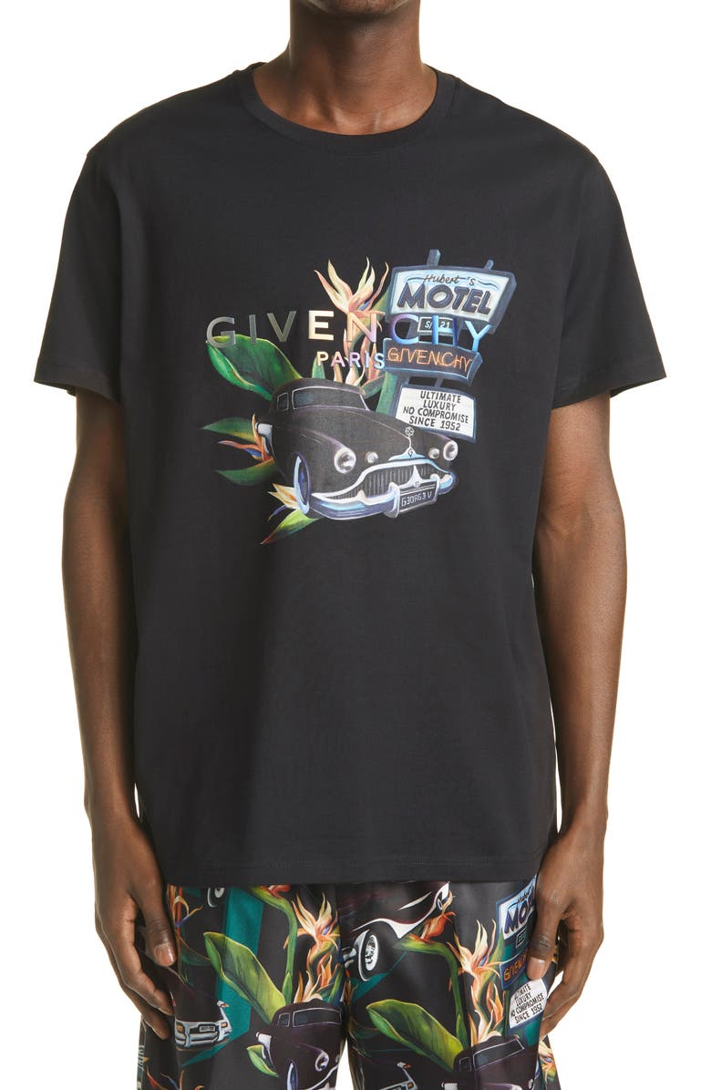 GIVENCHY Regular Fit Motel Car Graphic Cotton Tee, Main, color, BLACK