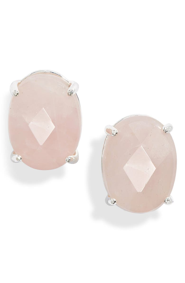 NORDSTROM Semiprecious Oval Stud Earrings, Main, color, BLUSH- SILVER