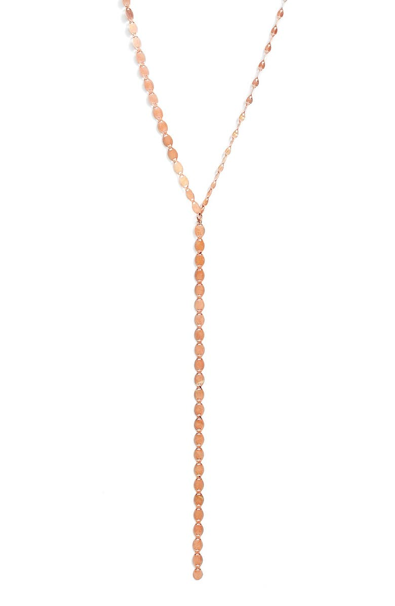 LANA JEWELRY 'Nude' Y-Necklace, Main, color, ROSE GOLD