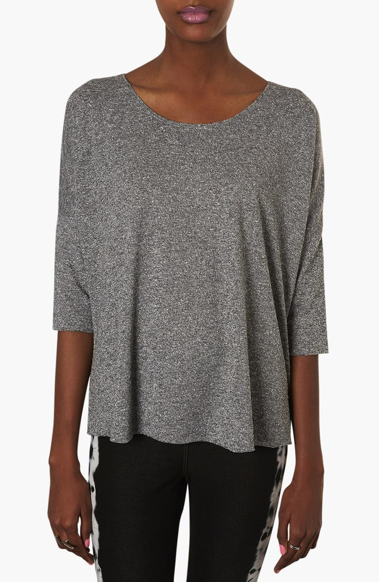 TOPSHOP Heathered Oversized Top, Main, color, Grey