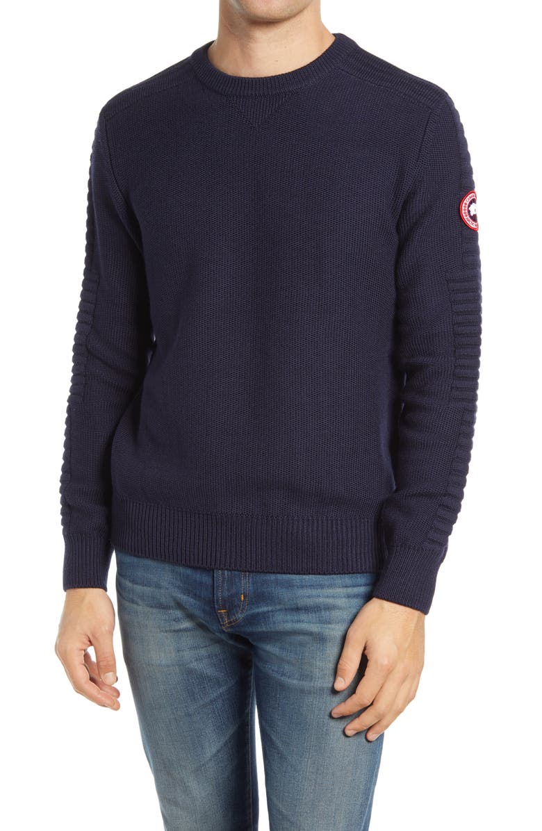 CANADA GOOSE Paterson Merino Wool Crewneck Sweater, Main, color, NAVY - MARINE