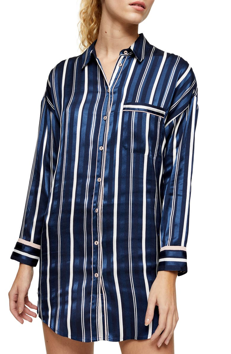 TOPSHOP Stripe Satin Pajama Shirt, Main, color, 411