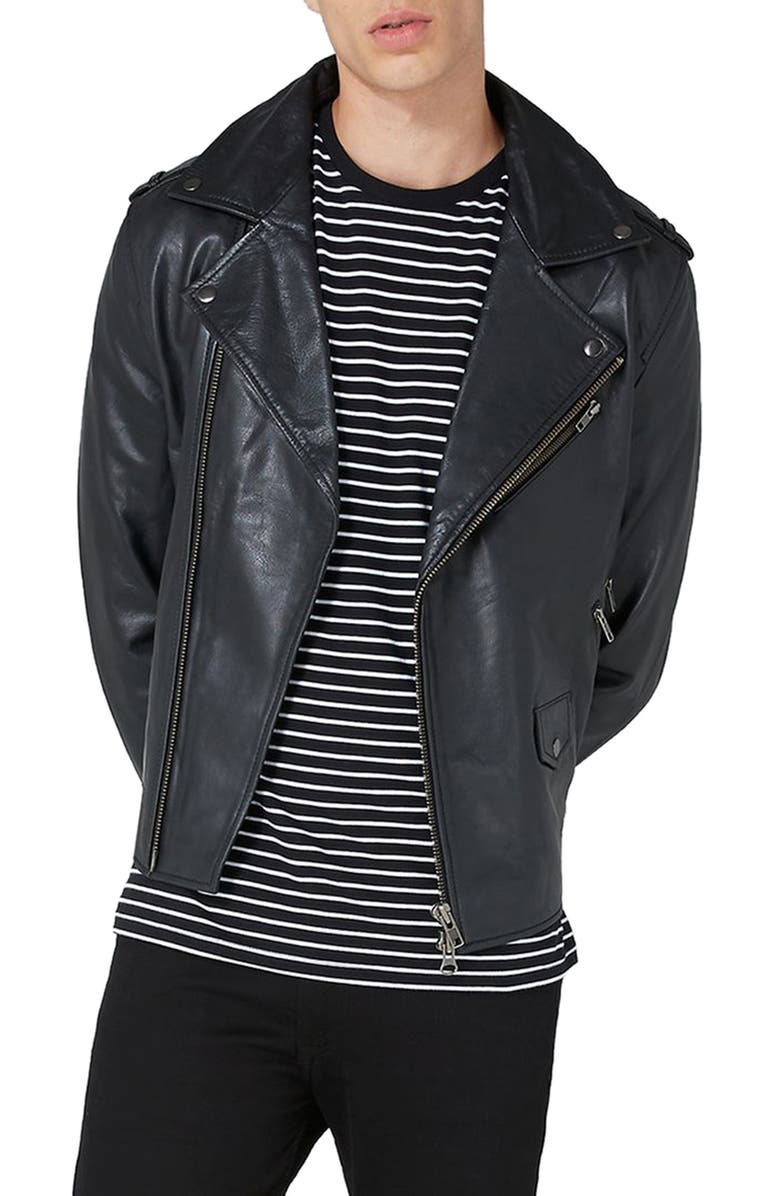 TOPMAN Leather Biker Jacket, Main, color, 001