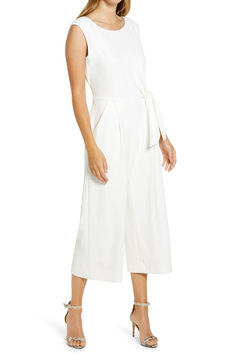 TAHARI Side Tie Crepe Crop Jumpsuit, Main, color, IVORY
