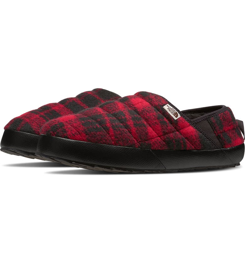 THE NORTH FACE ThermoBall<sup>™</sup> Traction Water Resistant Merino Wool Slipper, Main, color, RED PLAID/ BLACK