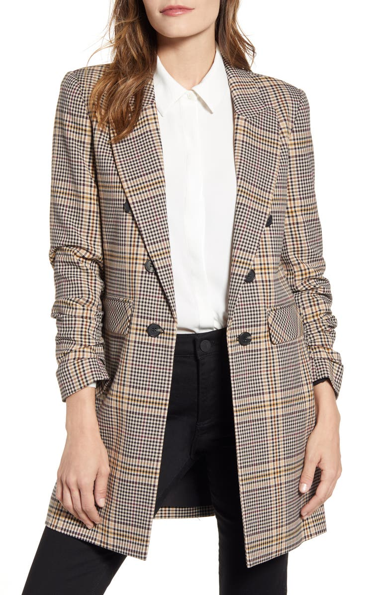 1.STATE Ruched Sleeve Plaid Blazer, Main, color, 766