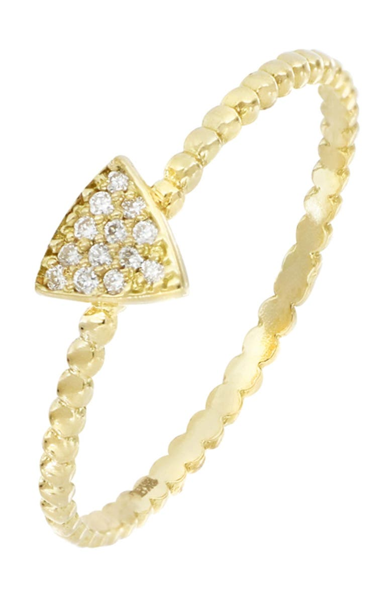 BONY LEVY Prism 18K Yellow Gold Pave Diamond Petite Triangle Shape Beaded Ring - 0.04 ctw, Main, color, 18KY