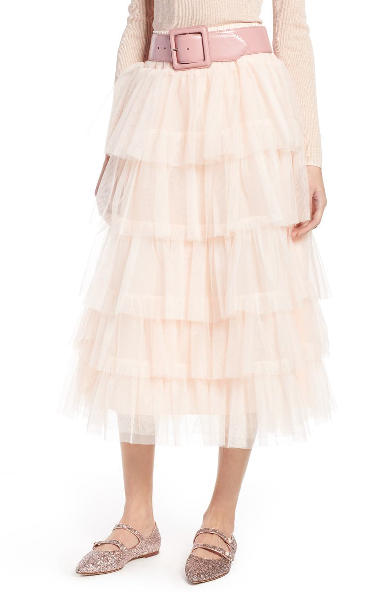 HALOGEN<SUP>®</SUP> x Atlantic-Pacific Tiered Tulle Midi Skirt, Main, color, 680
