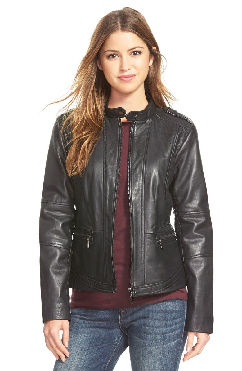 BERNARDO 'Kirwin' Zip Front Leather Jacket, Main, color, 001