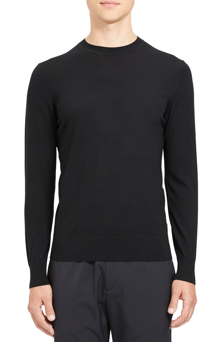 THEORY Regal Crewneck Sweater, Main, color, BLACK
