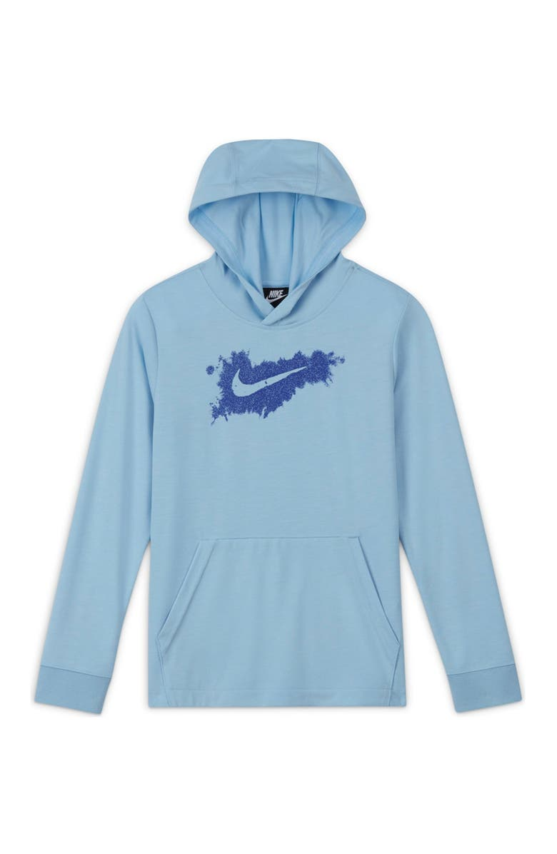 NIKE Contrast Graphic Pullover Hoodie, Main, color, BLACK/WHITE