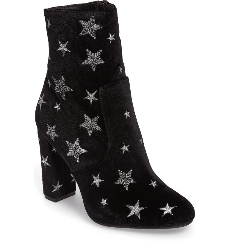 STEVE MADDEN Edit Embroidered Star Bootie, Main, color, BLACK FABRIC
