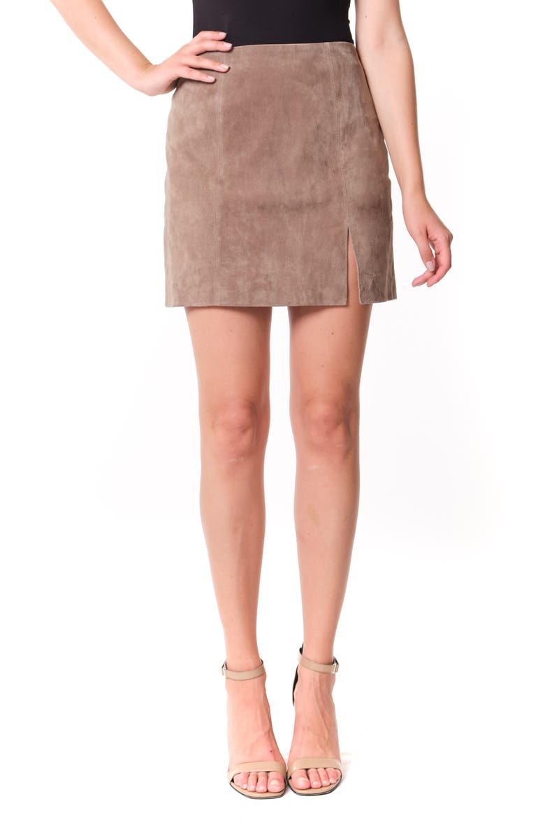 BLANKNYC Suede Miniskirt, Main, color, FRENCH TAUPE