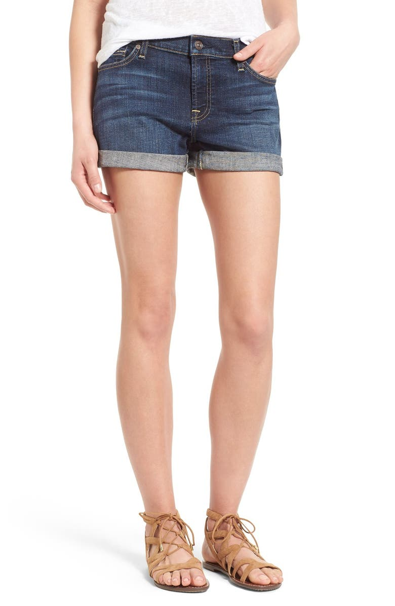 7 FOR ALL MANKIND <sup>®</sup> Roll Cuff Denim Shorts, Main, color, NOUVEAU NY DARK
