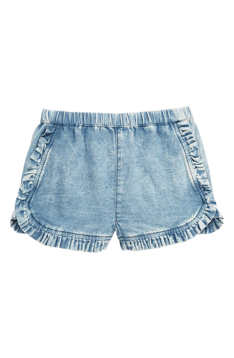 TUCKER + TATE Chambray Ruffle Shorts, Main, color, BLUE OCEAN WASH