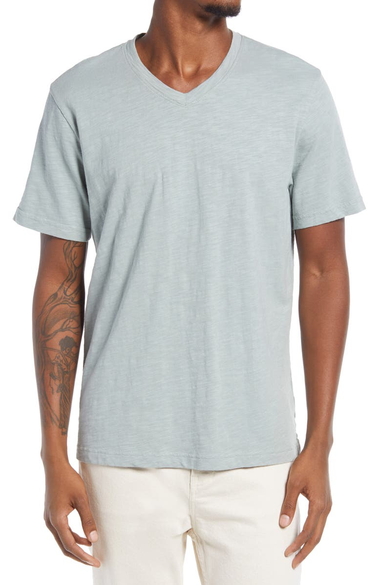 TREASURE & BOND Men's Slub V-Neck T-Shirt, Main, color, GREEN SLATE