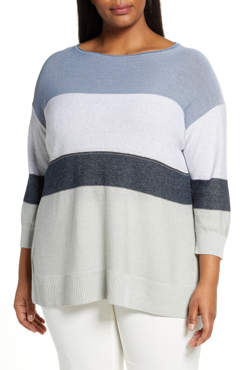 LAFAYETTE 148 NEW YORK Chain Embellished Ombré Colorblock Sweater, Main, color, 420