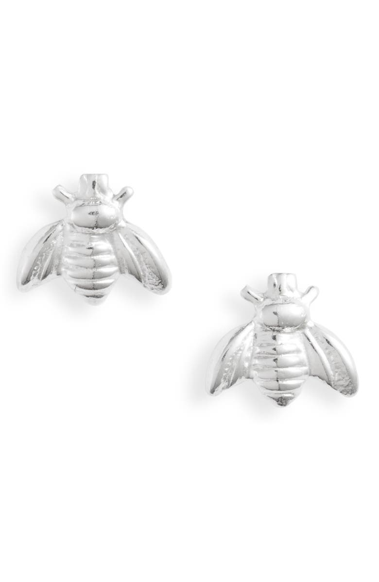 SET & STONES Beatriz Bee Stud Earrings, Main, color, SILVER