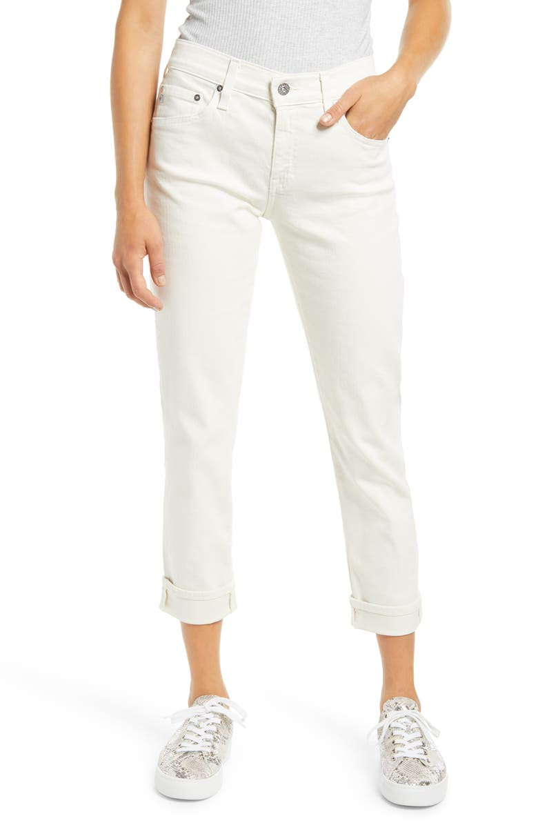 AG The Ex-Boyfriend Crop Slim Jeans, Main, color, 5 YEARS IVORY DUST