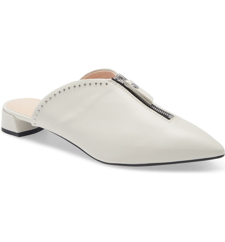 AGL Studded Zip Pointed Toe Mule, Main, color, OFF WHITE LEATHER