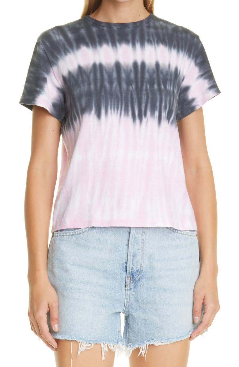 RE/DONE x Hanes The Classic Tee, Main, color, BLOSSOM STRIPE TIE DYE