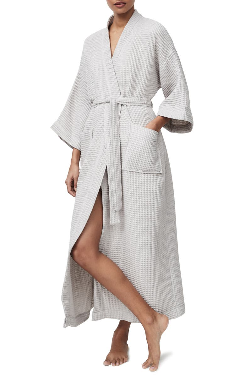 THE WHITE COMPANY Long Lightweight Waffle Robe, Main, color, 020