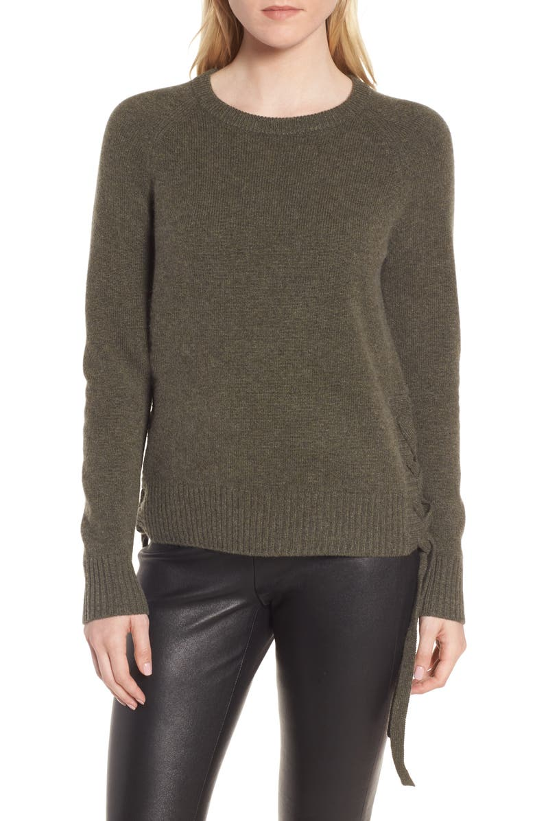 NORDSTROM SIGNATURE Side Tie Cashmere Pullover, Main, color, 310