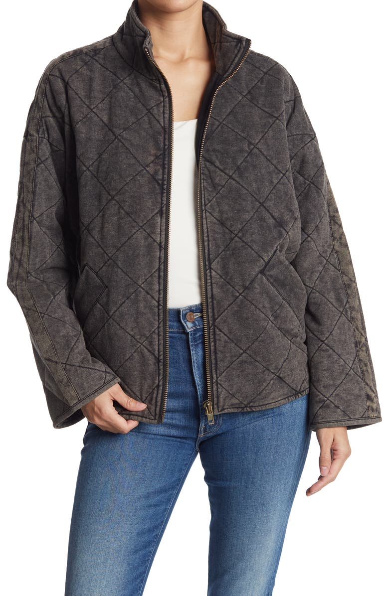 BAGATELLE French Terry Diamond Quilted Jacket, Main, color, BLACK