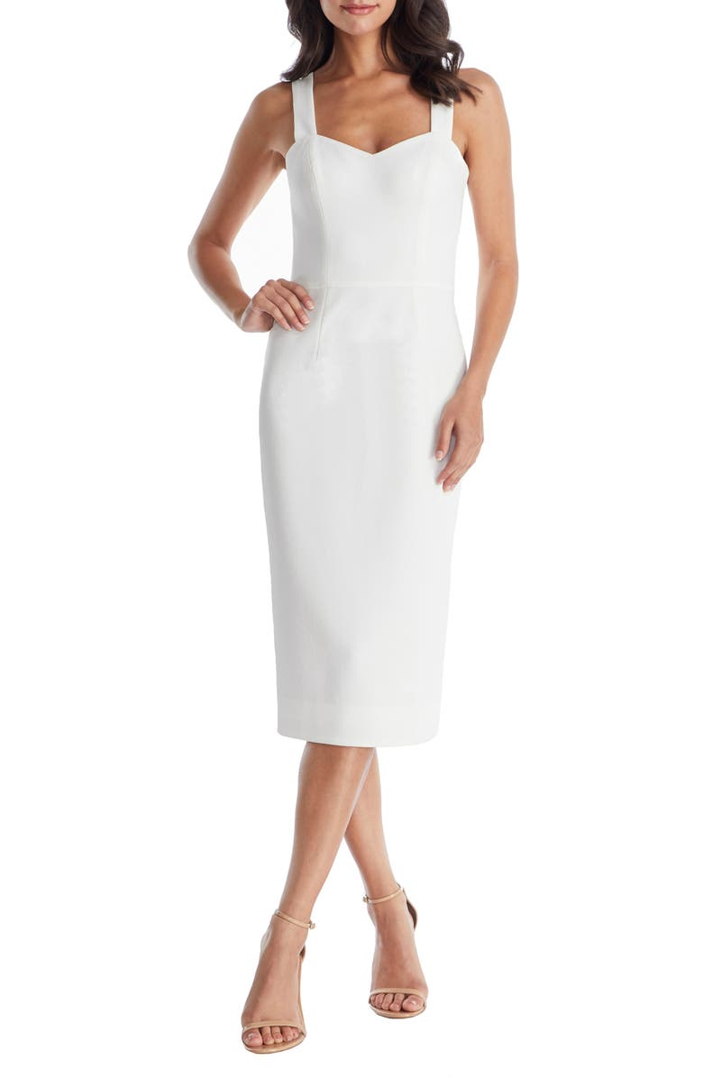 DRESS THE POPULATION Nicole Sweetheart Neck Cocktail Dress, Main, color, OFF WHITE