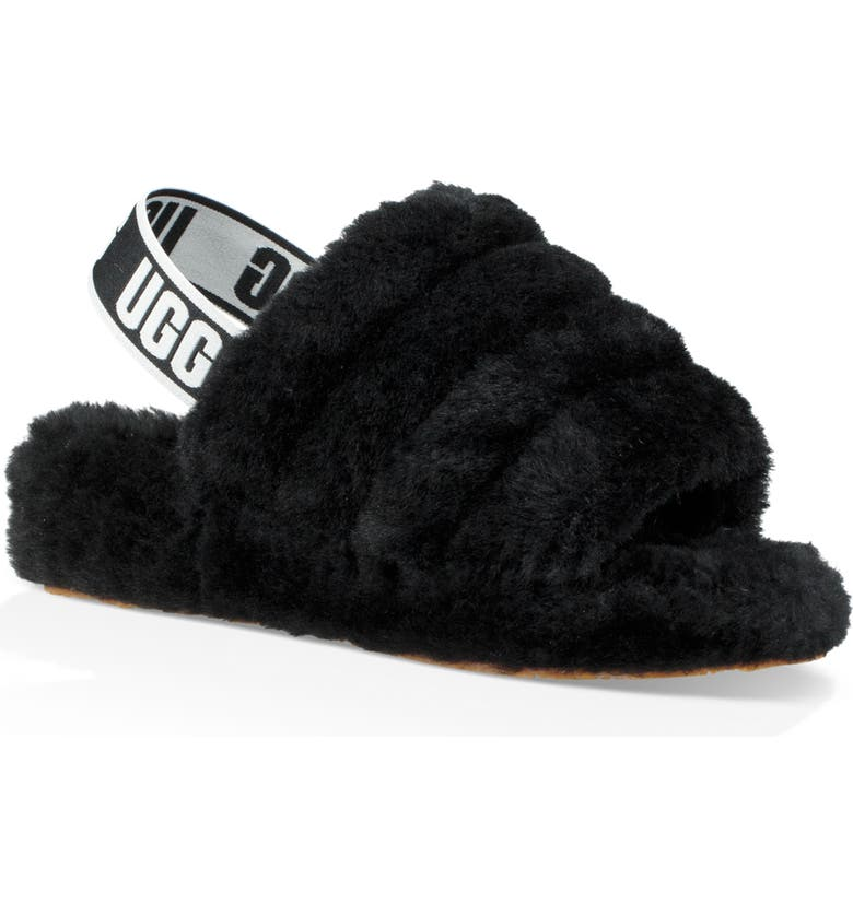 UGG<SUP>®</SUP> Fluff Yeah Genuine Shearling Slingback Sandal, Main, color, BLACK