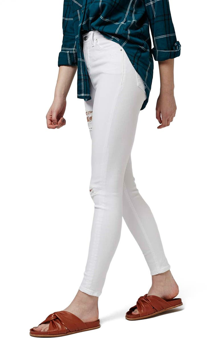 TOPSHOP 'Jamie - Super Ripped' High Waist Skinny Jeans, Main, color, 100