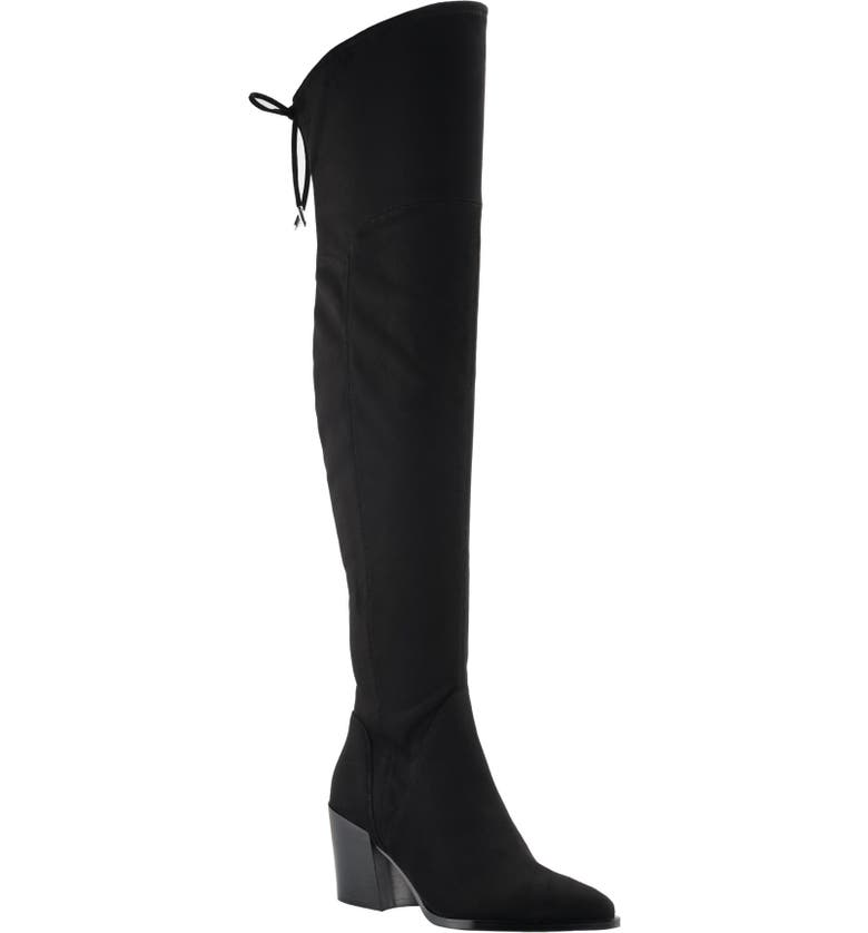 MARC FISHER LTD Comara Over the Knee Pointed Toe Boot, Main, color, BLACK STRETCH SUEDE