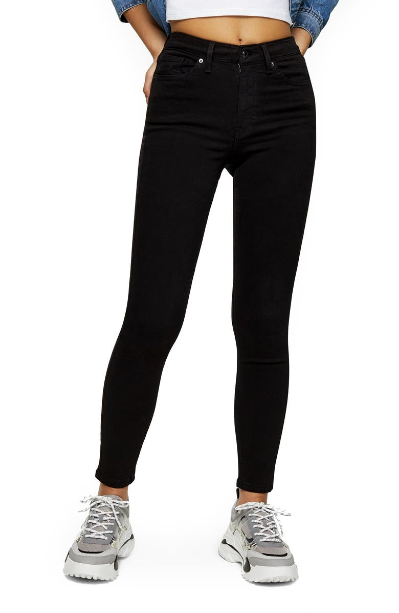 TOPSHOP Jamie High Waist Black Jeans, Main, color, BLACK