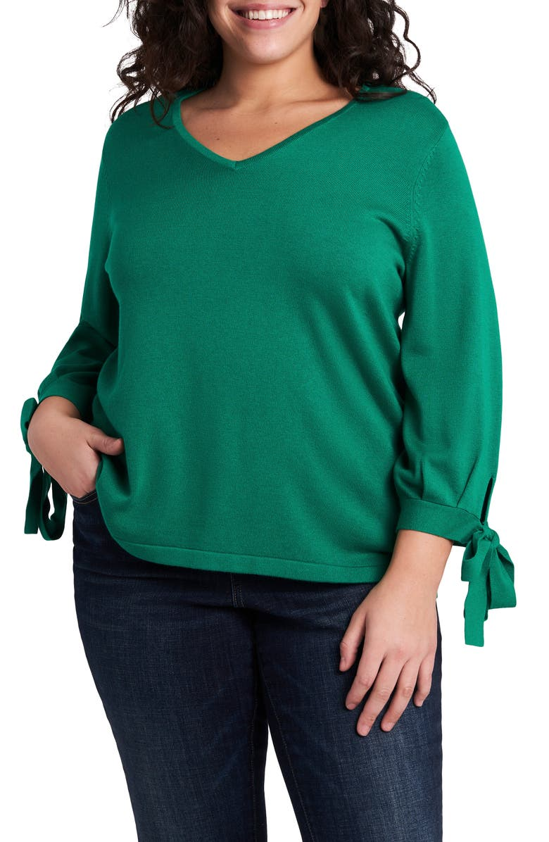 CECE Tie Sleeve Cotton Blend Sweater, Main, color, VIBRANT KELLY