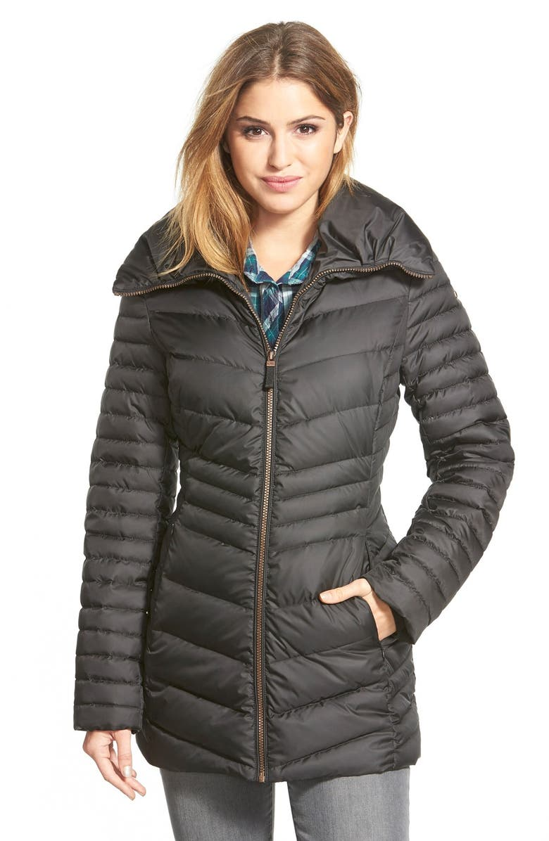 MARC NEW YORK 'Kirby' Chevron Quilted Pillow Collar Down & Feather Fill Coat, Main, color, 001