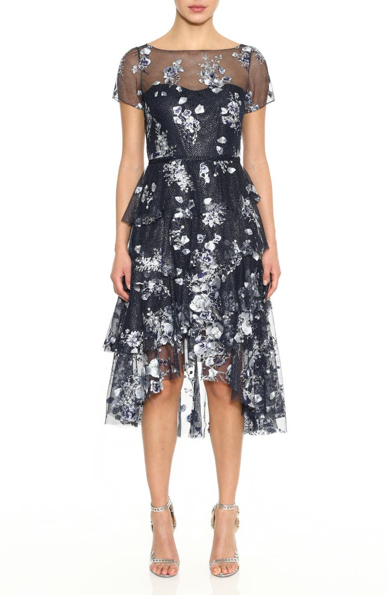 MARCHESA NOTTE Embroidered Cocktail Dress, Main, color, NAVY