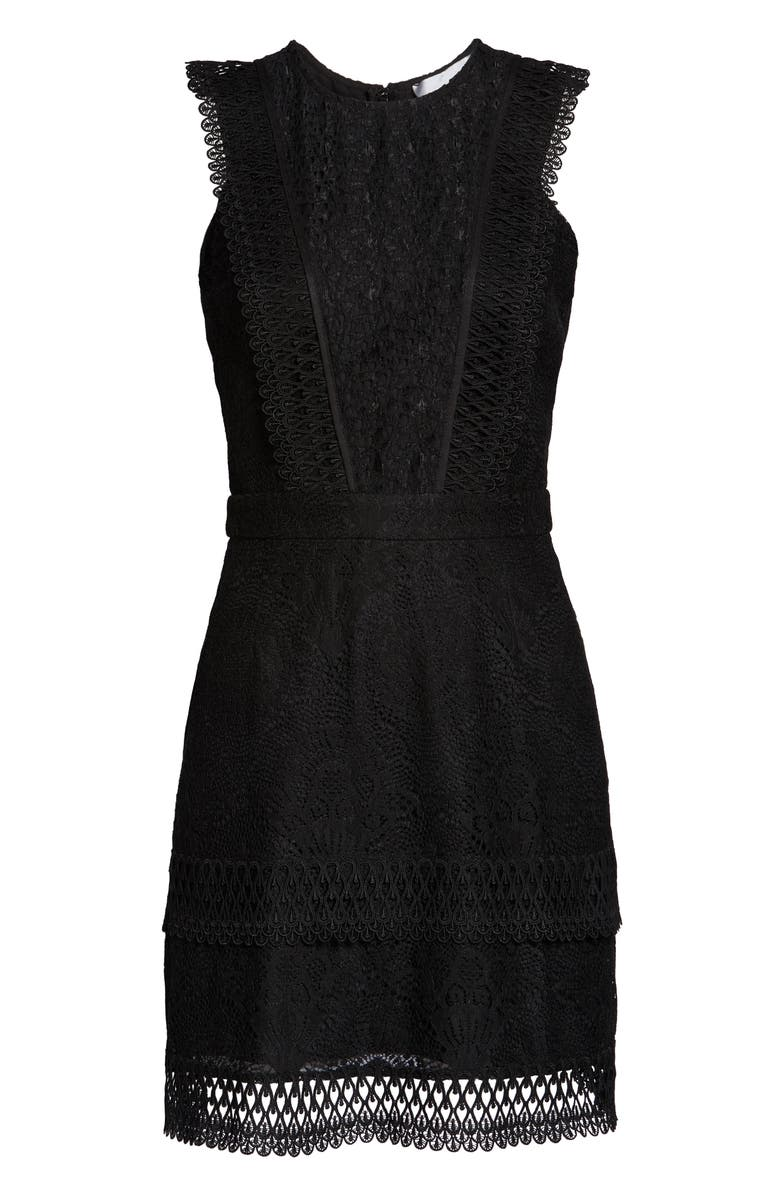 ADELYN RAE Shayna Mixed Lace Dress, Main, color, BLACK