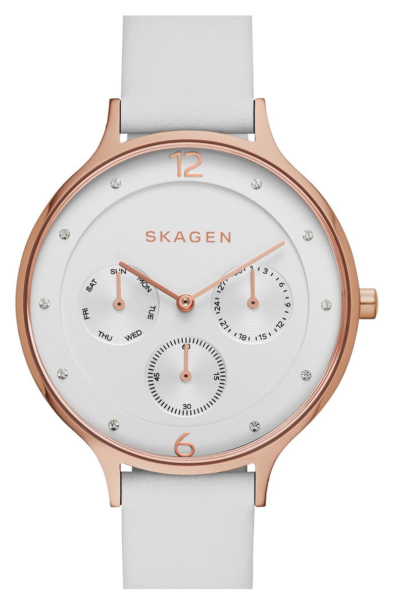 SKAGEN 'Anita' Crystal Marker Chronograph Leather Strap Watch, 36mm, Main, color, 100