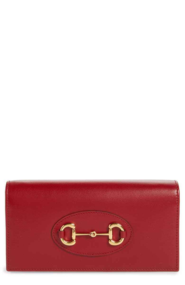 GUCCI 1955 Horsebit Leather Wallet on a Chain, Main, color, NEW CHERRY RED