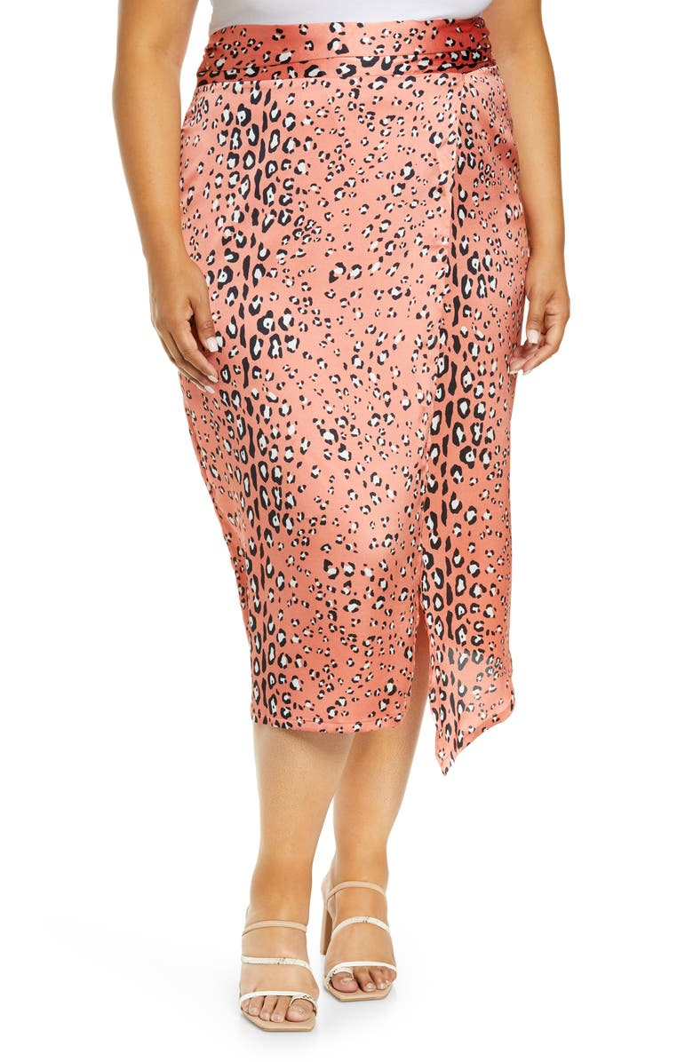 NEVER FULLY DRESSED Animal Print Wrap Skirt, Main, color, CORAL