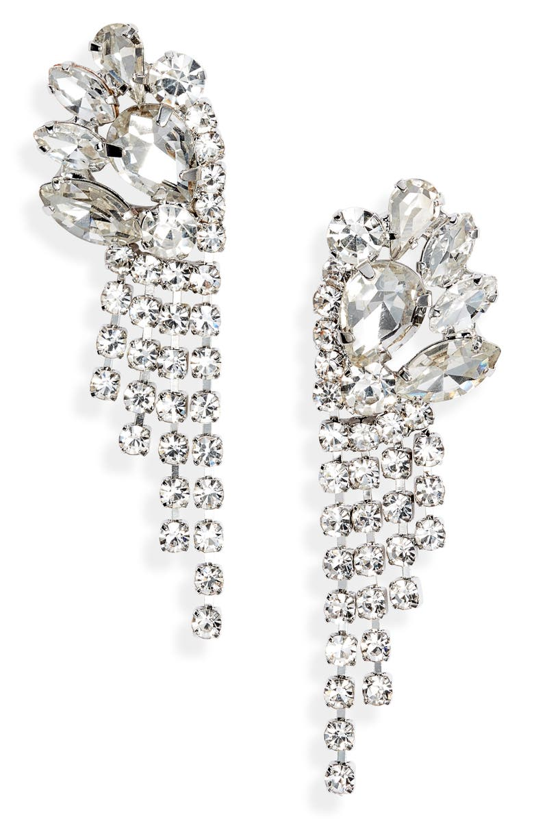 CRISTABELLE Crystal Mini Fringe Drop Earrings, Main, color, 040