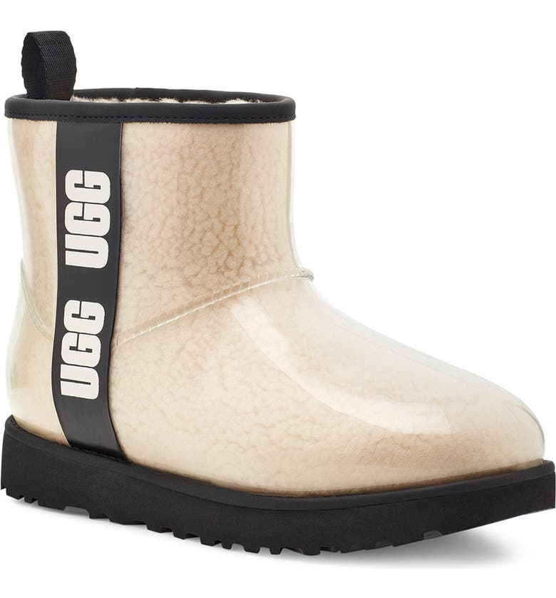 UGG<SUP>®</SUP> Classic Mini Waterproof Clear Boot, Main, color, NATURAL/ BLACK
