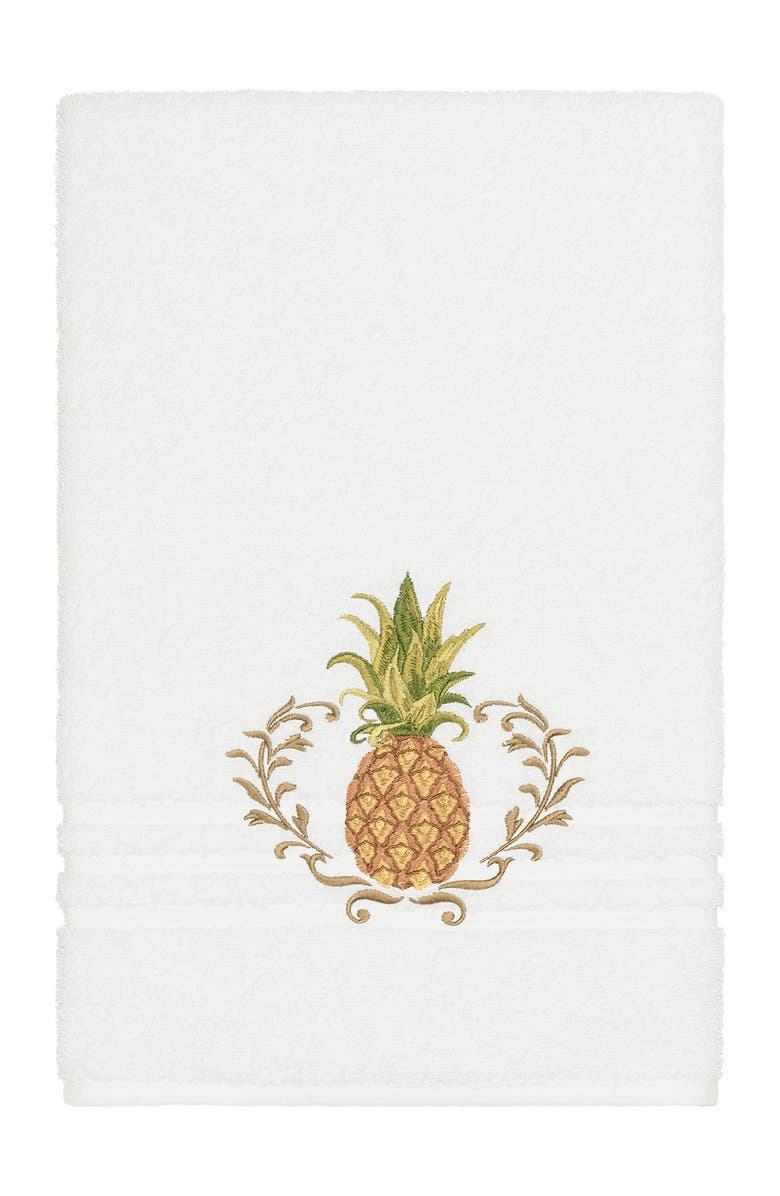 LINUM HOME TEXTILES Welcome Embellished Bath Towel - White, Main, color, WHITE