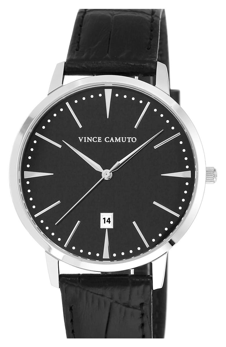 VINCE CAMUTO Leather Strap Watch, 40mm, Main, color, 001