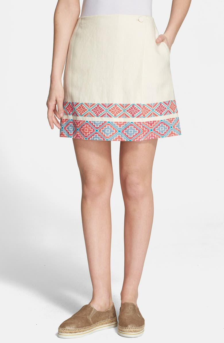 TORY BURCH Piece & Co. and Tory Burch 'Ruby' Embroidered Skirt, Main, color, IVORY MULTI