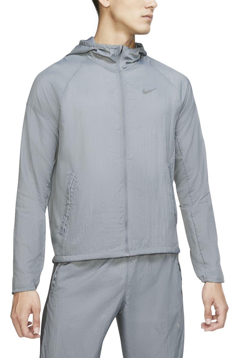 NIKE Essential Water Repellent Nylon Running Jacket, Main, color, SMOKE GREY/ SILVER
